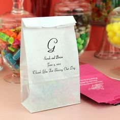 Personalized paper party candy bags available in assorted color options Wedding Favor Bags, Party Favor Bags, Gifts For Wedding Party, Wedding Ideas, Wedding Things, Wedding Stuff, Candy Bar Bags, Blush Wedding Centerpieces, Paper Party Bags