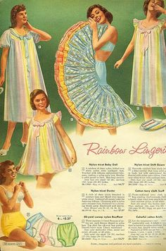 Rainbow lingerie by Sears 1959, 50s 60s print ad robe slip crinoline nightgown