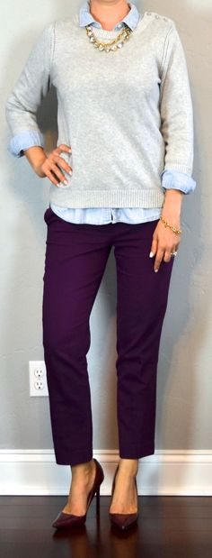 Outfit Posts: outfit post: purple cropped ankle pants, chambray shirt, grey sweater, burgundy pumps