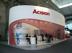 Nice exhibition stand for Acison. The red mesh swoosh is a really nice way of dividing the stand without making it feel claustrophobic.