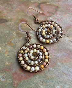 Copper and Ocean Jasper Wire Wrapped Earrings / by Lammergeier, $29.00
