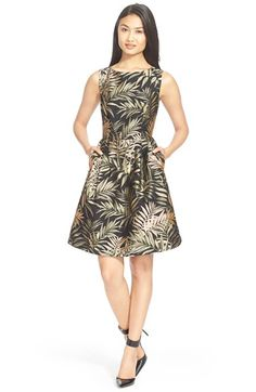 Ted Baker London 'Louryn' Leaf Jacquard Fit & Flare Dress available at #Nordstrom