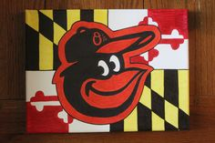 Hand painted canvas, Baltimore Oriole on a Maryland Flag