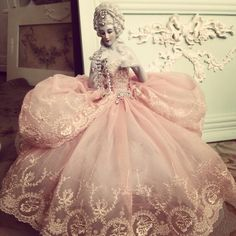 My porcelain Marie Antoinette.  I made her gown and embellished her with jewels.