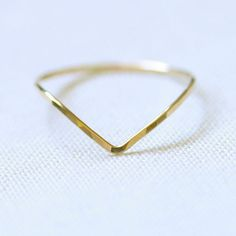 One Chevron Thread of Gold Ring - Rose or Yellow - Tiny Hammered Stacking Ring - Delicate Jewelry