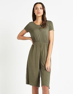 Womens olive boohoo capped sleeve jersey culottes jumpsuit from Lipsy - £15 at ClothingByColour.com