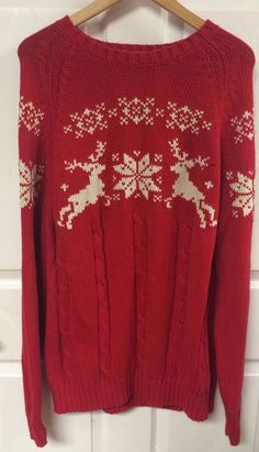 Land's End Red Reindeer Sweater Ski Jumper Mens Medium 38-40 Nordic Snowflakes #LandsEnd #Crewneck