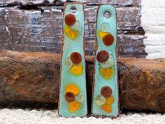 Seafoam Root Beer and Marigold Enamel Earring by BlueHareartwear