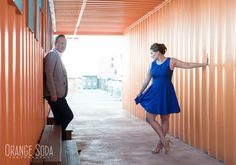 Liz and Greg - Las Vegas Container Park Engagement Session #containerpark #orange #engagementphotography #fremontstreet #oldvegas