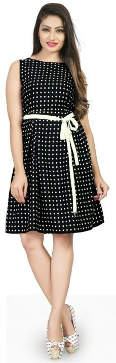 Beyond Dotted Lines Black Polka Printed Women's Knee-Length Western Dress - Betty Brewer Style Western Dresses Online, Western Dresses For Women, Western Costumes, Buy Dress, Skater Dress, Women Lingerie, Party Wear, Dresses For Work, Trending Outfits