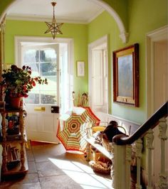 Hall at the Old Vicarage where Deborah (Mitford) the Duchess of Devonshire retired after Chatsworth. The World of Interiors - Simon Upton