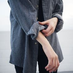 Checked shirt/Black jeans