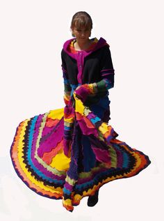 Elf Coat Upcycled Recycled Sweater Coat Long Rainbow by tantor, $375.00