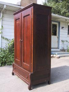 Antique Victorian Knock Down Oak Armoire Wardrobe