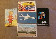 Lot of 5 Vintage Art Deco Advertising Paper Postcards, Unposted, Mixed Lot