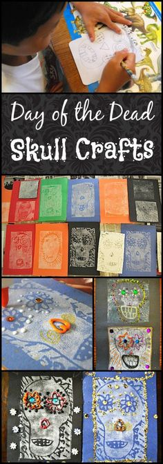 Fancy Skull Crafts for Day of the Dead- print-making for kids, and of course sequins and glitter. This works well to teach a bit of culture in Spanish classes.