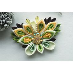 Brown Yellow butterfly hair clip/Kanzashi hair clip/ Butterfly hair... ($13) ❤ liked on Polyvore featuring airinflowers