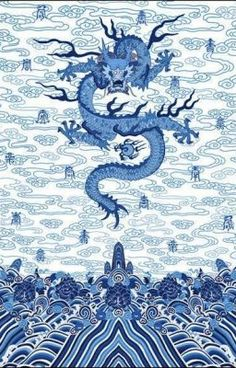 Chinese Imperial Dragon Robe in Blue and White – The Pink PagodaYou can find Chinese art and more on our website.Chinese Imperial Dragon Robe in Blue and White – Th. Dragon Oriental, Imperial Dragon, Chinese Emperor, Chinese Element, Chinese Patterns, Art Asiatique, Chinese Design, Chinese Style, China Art