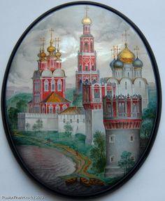 """Monashov Vladimir, Fedoskino lacquer box, """"Novodevichiy Monastery"""""""