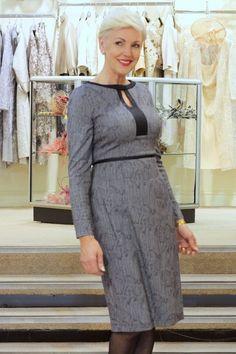 Caroline Kilkenny snakeskin effect grey dress Snowdrop