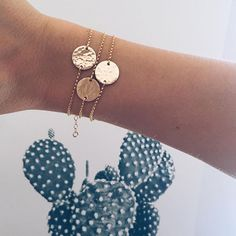Gold Hammered Charm Bracelets / Stacked Bracelets / Layered Jewelry / Dainty Jewelry / Mother's Day Gift / Made By Mary