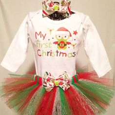 First Christmas Santa Owl Sparkle Tutu Outfit with matching hair bow on Etsy
