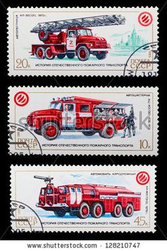 Postage Stamps Safety Vehicle Fire Trucks Stock Photo 39650038 -  Shutterstock