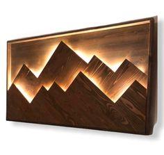 Mountain Decor, Mountain Art, Mountain Range, Wooden Wall Art, Wood Wall, Deco Nature, Art Mural, Map Art, Light Art