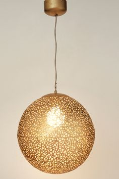 Gold, iron, lamp by J. Item No. Light Effect, Moroccan Style, Pendant Lamp, Light Fixtures, Iron, Ceiling Lights, Lighting, Elegant, Gold