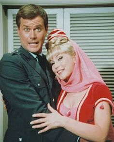 Barbara Eden and Larry Hagman in I Dream of Jeannie TV show, from 1965 to 1970.