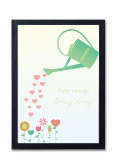 Geïllustreerde poster 'Love every living thing' van Kleur- Design via http://nl.dawanda.com/