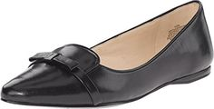 Nine West Womens Saxiphone Black Leather Flat 6 M *** Click on the image for additional details. Note:It is Affiliate Link to Amazon.