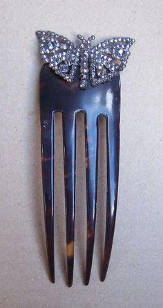 Antique hair comb Victorian cut steel by VintageHaircombShop