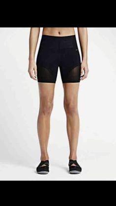 Womens-NIKE-Pro-Dual-Sculpture-Mesh-Training-Bike-Shorts-Size-XS-Black