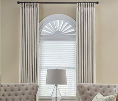 Other tips and tricks for window treatment ideas for your living room include using sheer panels or white linen curtains. These let in maximum natural light. - Check Out THE IMAGE for Various Ideas for Simple Window Treatments. Arched Window Coverings, Curtains For Arched Windows, Wood Windows, Arch Windows, Porch Curtains, Linen Curtains, White Curtains, Wood Arch, Faux Wood Blinds