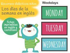 Imprimible. Días de la semana en inglés y castellano. Free printable weekdays english and castellano