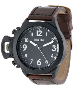 + Breda Men's 8170-Black/Brown Joseph Oversized Unique Case Faux Leather Band Watch