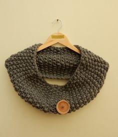 Chunky knit Grey cowl scarf