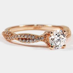 14K Rose Gold Twisted Vine Diamond Ring // Set with a 0.83 Carat, Round, Super Ideal Cut, D Color, SI1 Clarity Diamond #BrilliantEarth