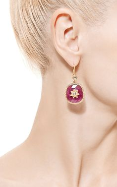 Ruby Polki Diamond Star Earrings by Jade Jagger