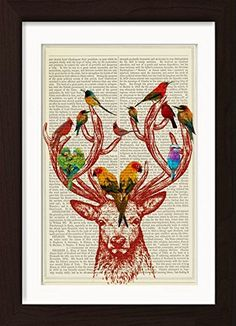 Deer Antlers with Colorful Birds Mounted / Matted Ready To Frame Dictionary Art Print. Mounted /Matted and Printed on antique 1870's Universal Biography Encyclopaedia Page with a even warm patina that only comes with age. Page size: 185mm x 275mm / 7.25 x10.75 inches. Every print comes with a mat/mount which means the final product is US 11 x 8.5 inches- Europe A4 297 x 210mm. FRAME NOT INCLUDED. This fits perfectly into IKEA´s RIBBA frame 11 x 8.5 for US or any standard 11 x 8.5 inch…