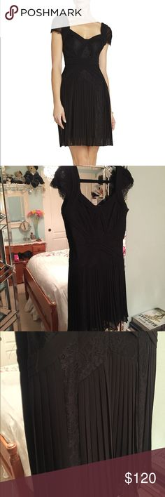 Black Pleated Lace Cocktail Dress Very new condition, only worn to my company's Christmas party one year. BCBGMaxAzria Dresses Midi