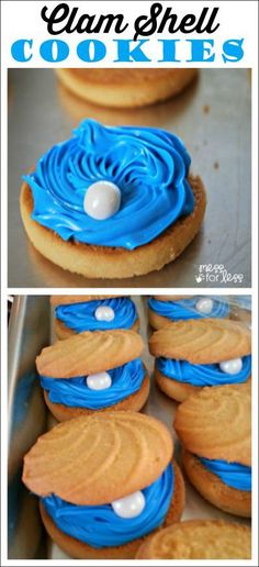 Having a mermaid party or an ocean themed party? Try these Clam Shell Cookies. You guests will be amazed. This cookie recipe is easy to make and will have your guests impressed!