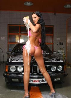 girl dripping bikini Car Wash