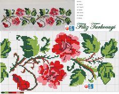 Risultati immagini per www filiz türkocağı Easy Cross Stitch Patterns, Simple Cross Stitch, Beaded Cross Stitch, Cross Stitch Rose, Cross Stitch Borders, Cross Stitch Charts, Cross Stitch Designs, Cross Stitching, Cross Stitch Embroidery
