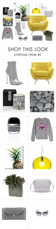 """""""Get into grey"""" by medusart on Polyvore featuring Casadei, Fornasetti, Marc Jacobs, Kenzo, Courtside Market, Kartell, MeDusa and CLUSE"""