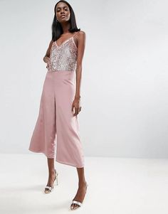 538efb52348 ASOS Sequin Jumpsuit with Raw Edge Detail and Culotte Leg Sequin Jumpsuit