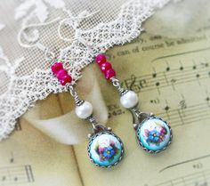 Love at the Russian Ballet,Vintage Blue Russian Rostov Finift Floral Enamel,Genuine Faceted Rubies & Pearl Earrings by Hollywood Hillbilly by HollywoodHillbilly on Etsy