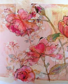 Thread and Thrift: More blooms - by mandy pattullo - this wood be gorgeous wallpaper.