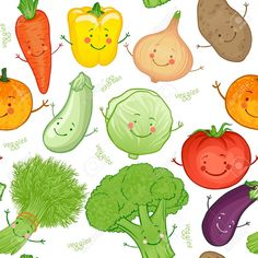Cute funny vegetables vector seamless pattern Stock Vector